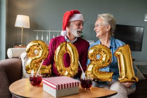 senior couple celebrate new year 2021
